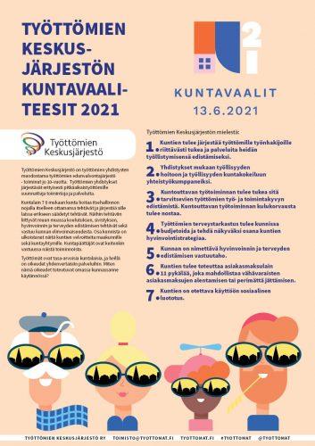 Työttömien Keskusjärjestön kuntavaaliteesit 2021 -juliste (A3)